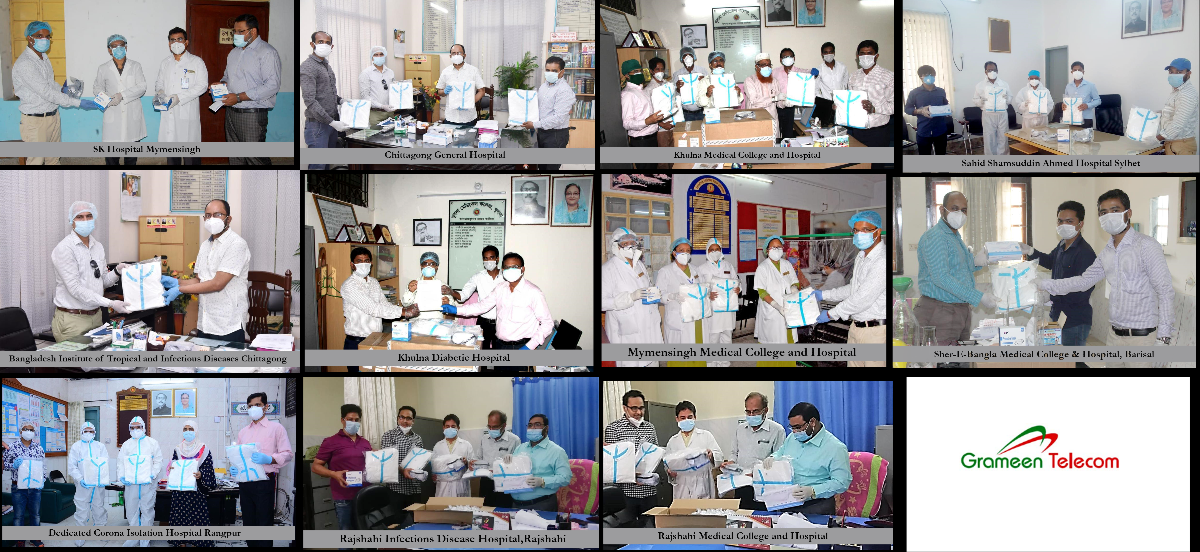 Grameen Telecom Provides Healthcare Equipment to Hospitals Engaged in Corona Treatment in 7 Divisional Cities outside Dhaka