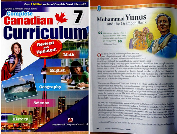 Yunus featured in Canadian High School Text Book