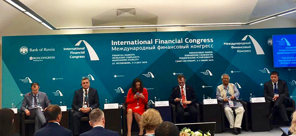 Yunus Addresses Russian Central Bank's International Financial Congress in St Petersburg