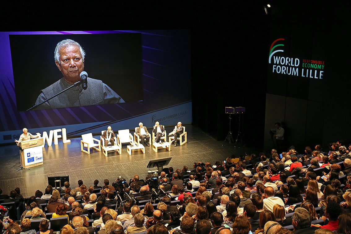 Nobel Laureate Professor Muhammad Yunus addressed 1,200 participants at the World Forum in Lille, Northern France on October 24, 2014 about social business as a powerful tool for social change. During the forum North France was declared as Social Business Region of the country. It would be the first such province in any country.